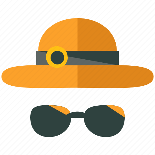 accessories, clothing, glasses, hat, holiday, sunglasses, travel icon