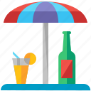 beverage, drink, parasol, terrace, umbrella icon