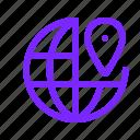 globe, world, destination, map, pin