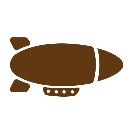 airship, solid, tourism, travel icon