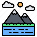 mountain, river, lake, landscape, scenery, travel, nature
