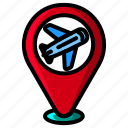 icon, color, airport, plane, airplane, flight, travel