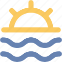 beach, ocean, sea, seaside, seaview, sun, sunset icon