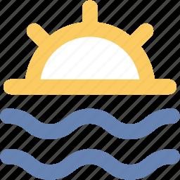 beach, ocean, sea, seaside, seaview, sun, sunset icon