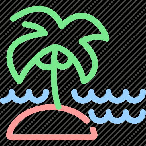 palm tree, sea, summer, vacation icon