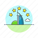 building, five, holiday, hotel, luxury, stars, travel, vacation icon