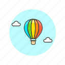 air, balloon, hot, rainbow, sky, transport, travel icon