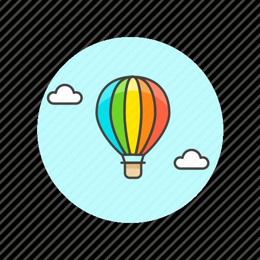 air, balloon, hot, rainbow, sky, transport, travel icon