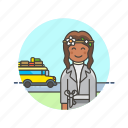 bus, holiday, transport, travel, trip, vacation, wait, woman icon