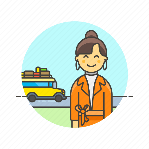 bus, holiday, travel, trip, vacation, vehicle, woman icon