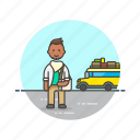 bus, man, road, travel, trip, vacation, vehicle icon