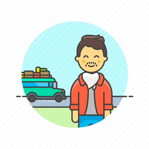 bus, holiday, man, travel, trip, vacation, vehicle icon
