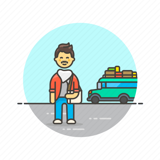 bus, holiday, man, travel, trip, vacation, wait icon