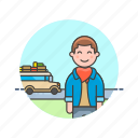 bus, holiday, man, transport, travel, trip, vacation, vehicle icon