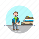 bus, holiday, man, transport, travel, trip, vacation, wait icon