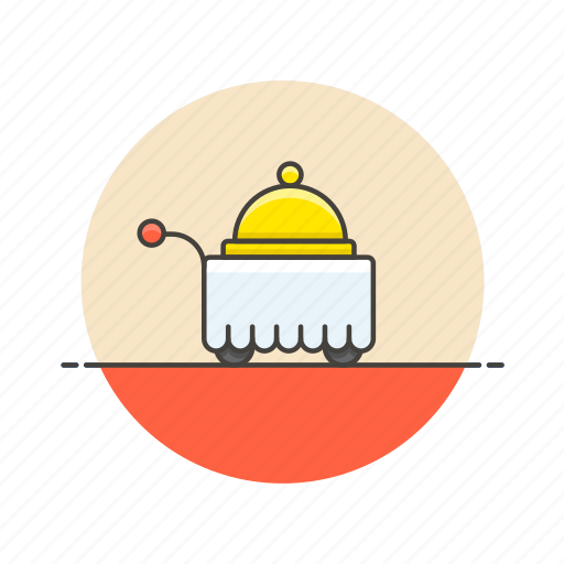 food, hotel, kitchen, meal, room, service, travel, trolley icon