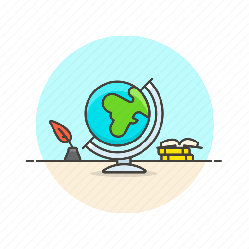 earth, globe, ink, model, travel, world, write icon
