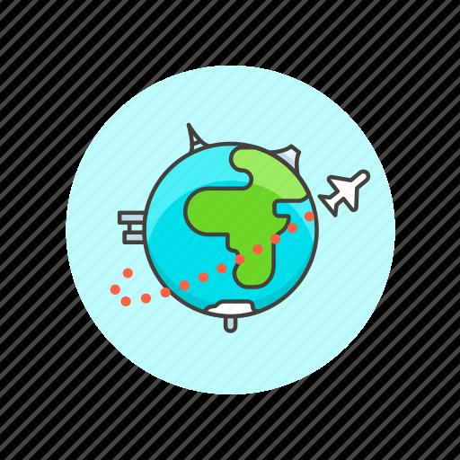 fly, globe, plane, transport, travel, vacation, vehicle, world icon
