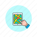 hand, map, tablet, travel icon
