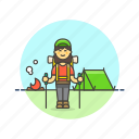adventure, camp, fire, hiking, tent, travel, vacation, woman icon