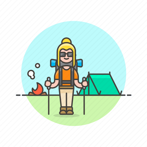 camp, equipment, fire, hiking, tent, travel, vacation, woman icon