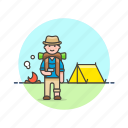 adventure, camp, fire, hiking, man, tent, travel, vacation icon