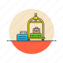 hotel, luggage, travel, trolley icon