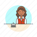 bell, customer, hotel, receptionist, service, travel, woman icon