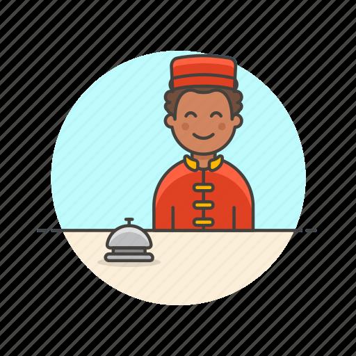 bell, customer, hotel, man, receptionist, service, travel icon
