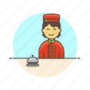 bell, customer, hotel, man, receptionist, service, travel icon