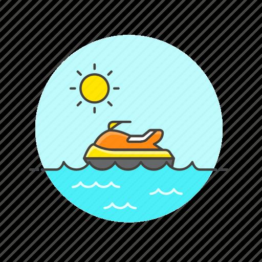 jet, sea, ski, summer, sun, travel, vehicle, water icon