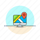 computer, gps, imac, location, map, navigation, pin, travel icon