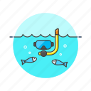 mask, snorkel, travel icon