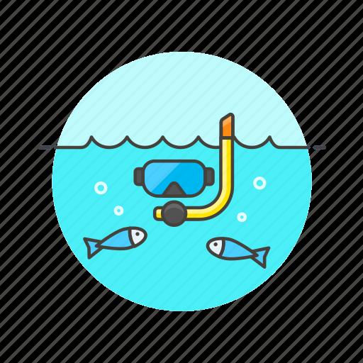 dive, fish, mask, sea, snorkel, travel, underwater icon