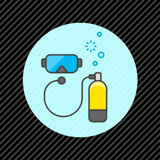 dive, mask, oxygen, snorkel, tank, travel, underwater icon
