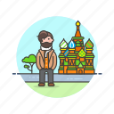 caucasian, male, moscow, travel icon