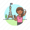 eiffel, france, paris, selfie, sightseeing, tower, travel, woman icon