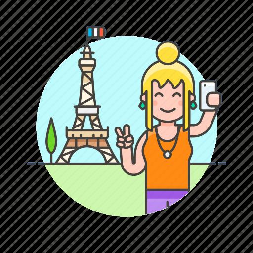 eiffel, france, paris, selfie, sightseeing, tower, travel, woman icon