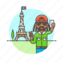 eiffel, france, man, paris, picture, selfie, tower, travel icon