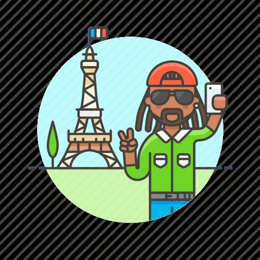 eiffel, france, man, paris, picture, selfie, tower, travel icon