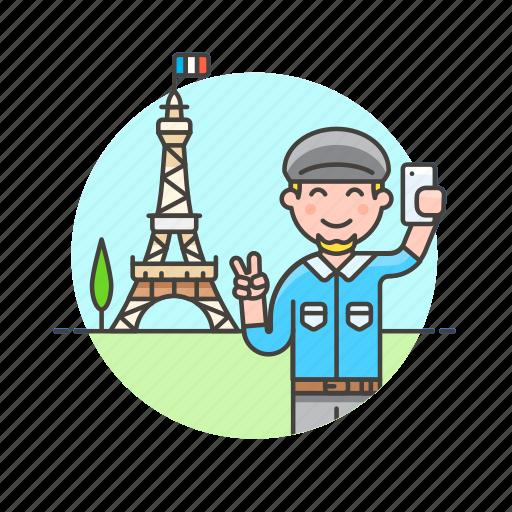 eiffel, man, paris, picture, selfie, tower, travel, vacation icon