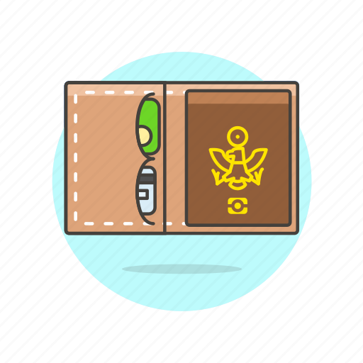 card, credit, document, open, passport, personal, travel, vacation icon