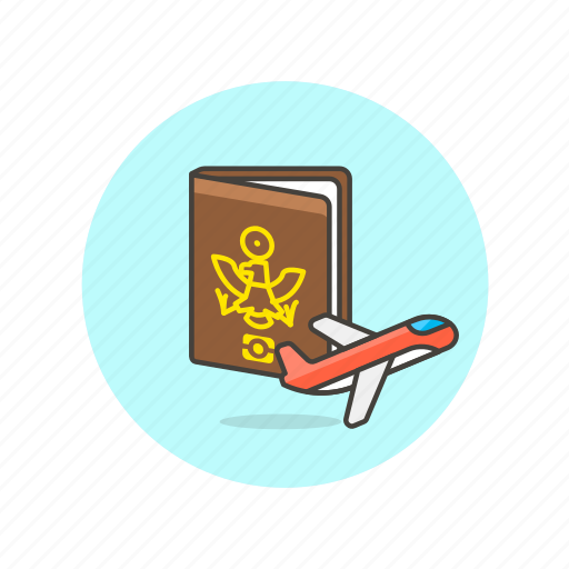 document, fly, passport, personal, plane, transport, travel, vacation icon