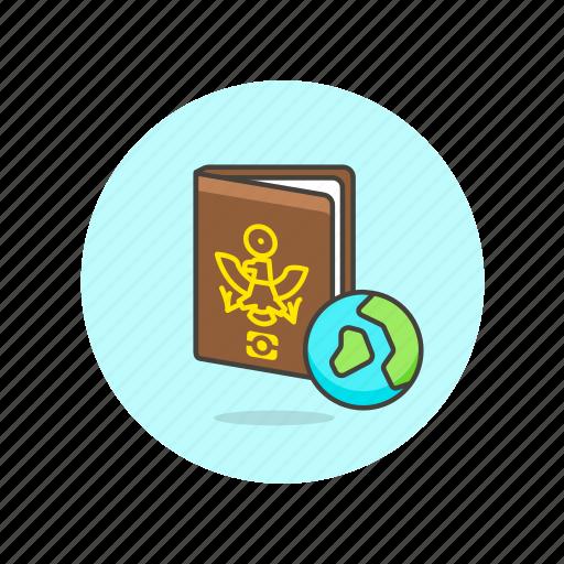 document, earth, globe, holiday, passport, personal, travel, world icon