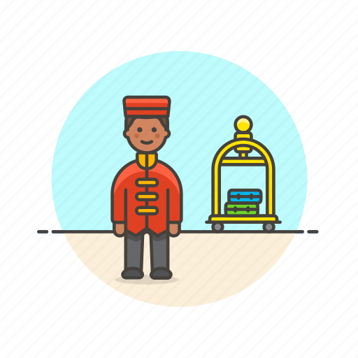 baggage, holiday, hotel, man, receptionist, travel, trolley, vacation icon