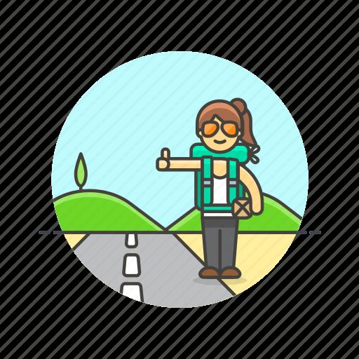car, hitchhike, roadtrip, stop, transport, travel, wait, woman icon