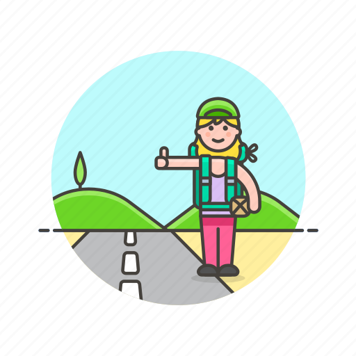 car, hitchhike, roadtrip, transport, travel, vacation, wait, woman icon