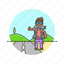 hitchhike, man, roadtrip, transport, travel, vacation, wait icon