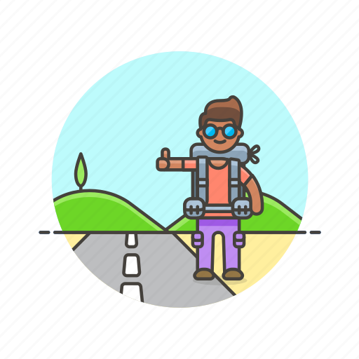 Roadtrip, travel, hitchhike, man, transport, vacation, wait icon - Download on Iconfinder
