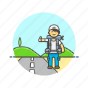 car, hitchhike, man, roadtrip, stop, transport, travel, wait icon